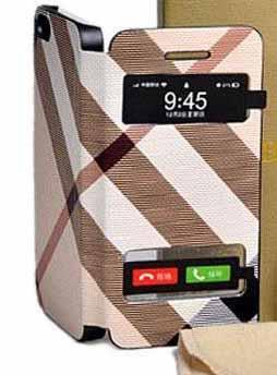 Калъф тефтер Burberry дизайн за iPhone 4S