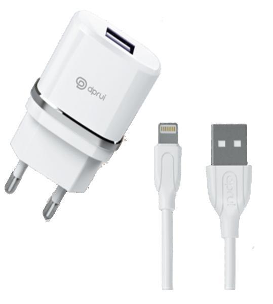 Зарядно 2в1 lightning /iPhone/ USB /220V - 2.1A + USB кабел/ Dprui C1 /бяло/