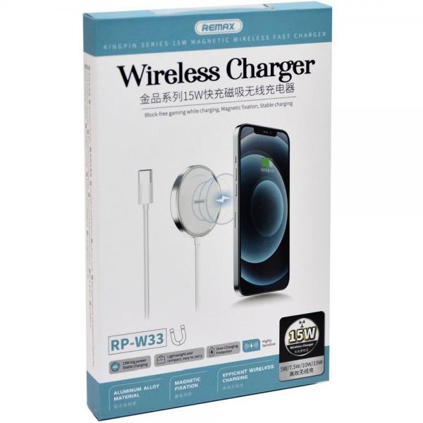 Wireless /безжично/ зарядно MagSafe Remax RP-W33 15W / за iPhone 12 / 12 Pro 6.1 / 12 Pro Max 6.7