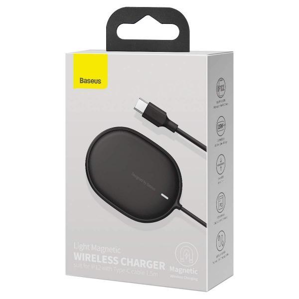 Wireless /безжично/ зарядно MagSafe Baseus Light J01 15W / Черен / за iPhone 12 / 12 Pro 6.1 / 12 Pro Max 6.7