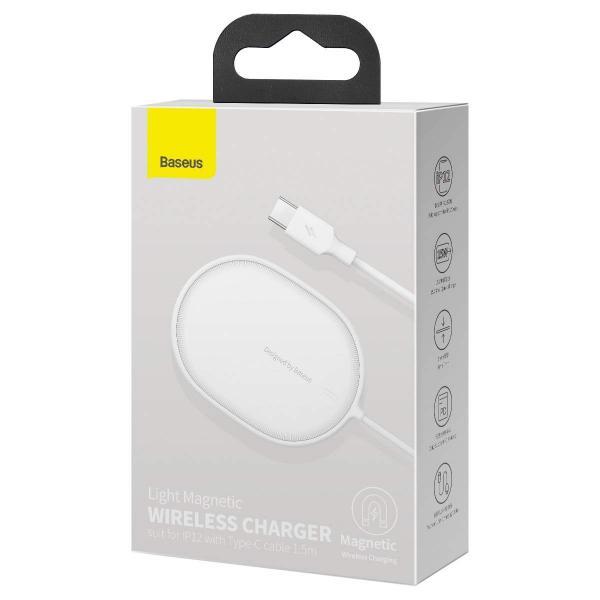 Wireless /безжично/ зарядно MagSafe Baseus Light J02 15W / Бял / за iPhone 12 / 12 Pro 6.1 / 12 Pro Max 6.7
