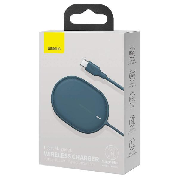 Wireless /безжично/ зарядно MagSafe Baseus Light J03 15W / Син / за iPhone 12 / 12 Pro 6.1 / 12 Pro Max 6.7