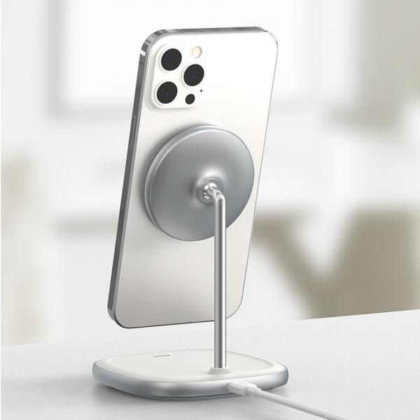 Wireless /безжично/ зарядно MagSafe Baseus W-02 за Бюро 15W / Бял / за iPhone 12 / 12 Pro 6.1 / 12 Pro Max 6.7